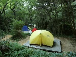 段々畑状態のテントサイトにめいめい持ち寄ったカラフルなテントたちが並びました